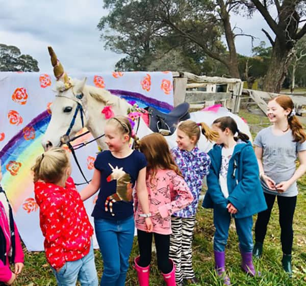 Unicorn pony party -kids meeting a unicorn