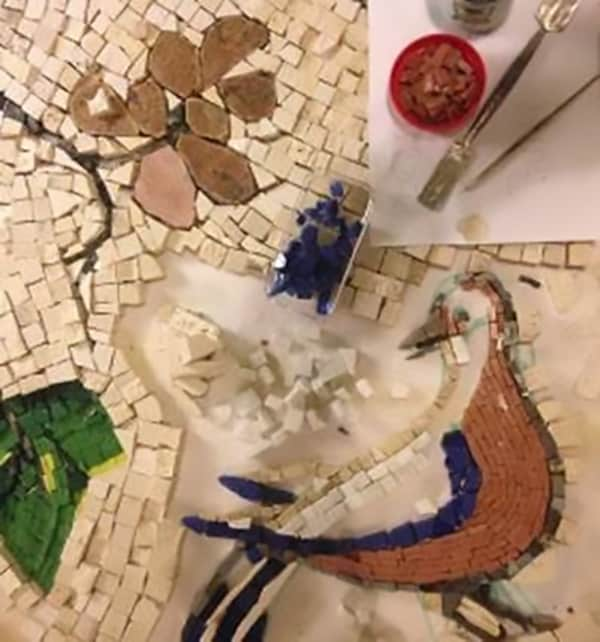 Mosaic in progress at Ashton Park Mosica Making Workshop
